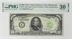 1934 $1000 Federal Reserve Note -  Richmond District, Fr. 2211-E  PMG VF 30 - Nice Note