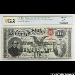1863 $10 COMPOUND INTEREST TREASURY NOTE FR#190 SN 2012 PCGS VF 25