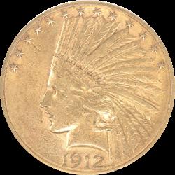 1912-S Indian $10 Gold Eagle Old Holder ANACS AU 50