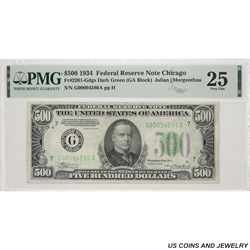 1934 $500 Federal Reserve Note of Chicago PMG  VF 25 FR#2201-G SN# G00094580A