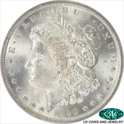1890-CC Morgan Silver Dollar PCGS and CAC MS65 Frosty White Coin OGH