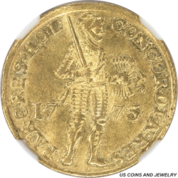 1775 Netherland Gold Ducat Holland NGC AU55 .9860 Fine Gold .1106 Troy Ounce