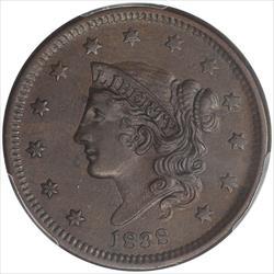 1838 Coronet Head Large Cent PCGS AU55  Chocolate Brown Color