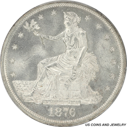 1876 US Silver Trade Dollar PCGS MS 64 Frosty White Rolling Luster
