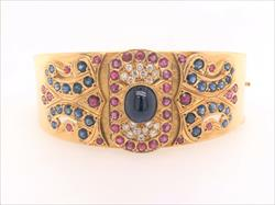 Sapphire, Ruby, Diamond Finely Crafted 18k Yellow Gold Clasp Bracelet