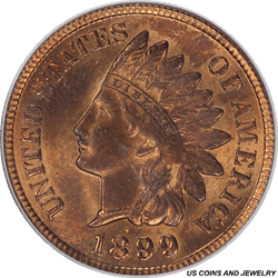 1899 Indian Cent PCGS MS64RB High Luster Brick Red Color