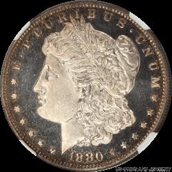 1880 Morgan Silver Dollar, Very Nice Rim Toning, NGC PR65 Cameo