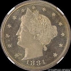 1884 Liberty V Nickel NGC PF64 CAMEO ~ Nice Coin