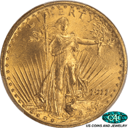 1911-D St. Gaudens $20 Gold Double Eagle PCGS MS64 CAC - Very Nice