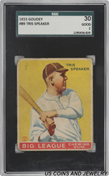 1933 Goudy #89 Tris Speaker Kansas City Blues SGC Good 2