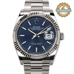 Rolex 36mm Date Just 126234 Blue Index w 18K WG Fluted Bezel  Box & 2021 Card