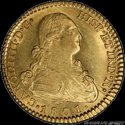 1801-M FA 2 Esc Spain PCGS  MS 63