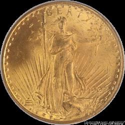 1907 Saint St. Gaudens $20 Gold Double Eagle PCGS MS65