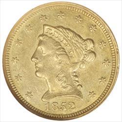 1852-C Liberty $2 1/2 Gold Quarter Eagle NGC AU58 Rare Charlotte Gold