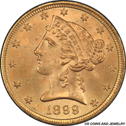 1899 Liberty $5 Gold Half Eagle PCGS MS64+ Sharp Well Struck Coin