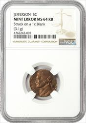Mint Error Jefferson Nickel ON 1C BLANK NGC MS64RB