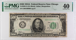 1934-A $500 Federal Reserve Note, SN G00160990A PMG XF 40