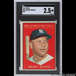 1961 TOPPS #475 MICKEY MANTLE MVP SGC 2.5 GD+