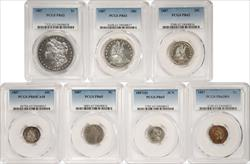 1887 Proof 7 coin Set PCGS