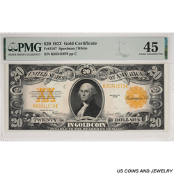 1922 $20 Gold Certificate PMG Choice EF 45 Fr 1187 - Very Nice Note