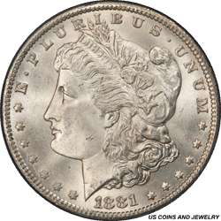 1881-CC Morgan Silver Dollar PCGS MS65+ Frosty Well Struck Coin