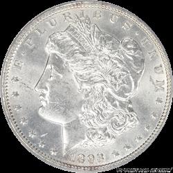 1893 Morgan Silver Dollar PCGS MS62 Frosty White Low Mintage Date