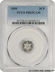 1868 Three Cent Silver Trime Cameo Proof PCGS