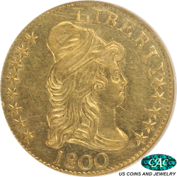 1800 Capped  Bust Right $5 Gold Half Eagle NGC and CAC MS 61 - Extremely Nice Coin