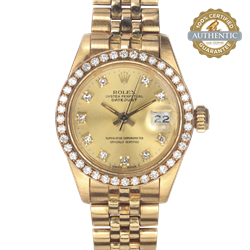 Rolex 26mm DateJust 18K YG DB and 10 Diamond Champagne Dial with Box
