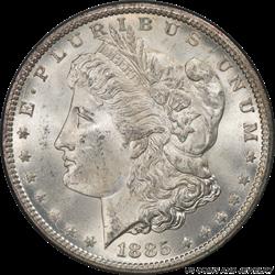 1885-CC Morgan Silver Dollar  PCGS MS64+ Frosty White Cartwheel Luster