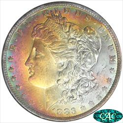1883-O Morgan Silver Dollar NGC and CAC MS63 Fire Like Color Toning