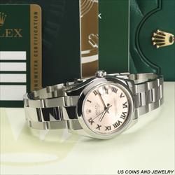 Rolex 31mm DATEJUST 178384 Pink Roman Dial w 2011 Card