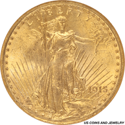 1915-S Saint St. Gaudens $20 Gold Double Eagle Old Brown Label NGC MS 64