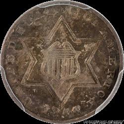 1854 Three Cent Silver Trime PCGS AU55 Dark Inky Amber Toning