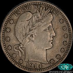 1914-S Barber Quarter PCGS  XF40  CAC - Nice Original Coin
