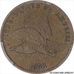 1858  Flying Eagle Cent Small Letters PCGS AU53 Nice Burnt Umber Brown Color