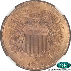 1864  Large Motto Two Cent NGC and CAC
