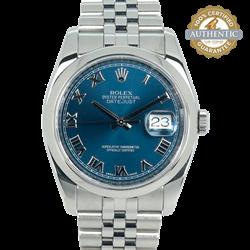 ROLEX 36mm Datejust 116200 Blue Roman on Jubilee Watch Only
