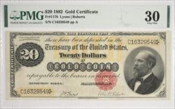 1882 $20 Gold Certificate PMGVF30 Fr.1178 S/N C16329549 pp A