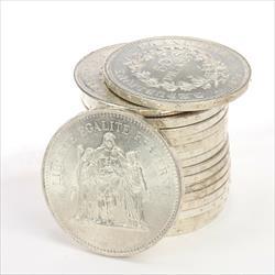 France 50 Francs Hercules Silver Coin