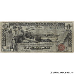 1896 $1 Silver Certificate S/N 22161 $1 Educational Circulated Very Fine