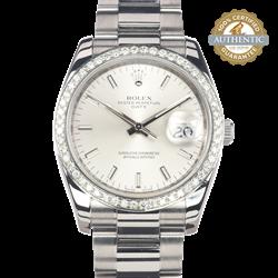 Rolex 34mm Oyster Perpetual Date 115210 18K WG Diamond Bezel Watch Only