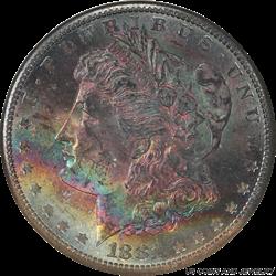 1881-S Morgan Silver Dollar With Rainbow  Toning NGC MS-64