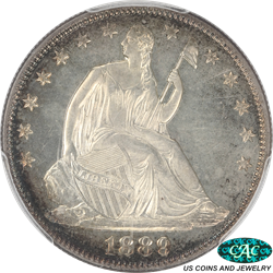 1889 Seated Liberty Half Dollar PCGS and CAC PR63 Frosty Details and Colorful Rim Toning