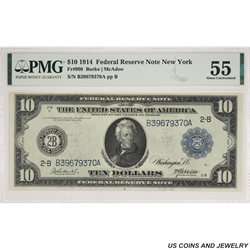 1914 $10 Federal Reserve Note New York District PMG AU 55 Fr. 908 - Very Nice Note
