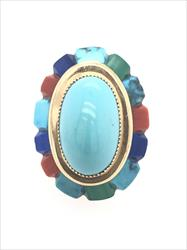 Turquoise, Lapis, Malakite & Coral Ring In 14k Yellow Gold