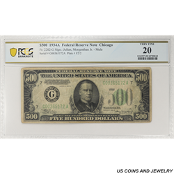 1934A $500 Federal Reserve Note, Fr. 2202-G, Chicago, PCGS 20 Very Fine