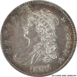 1832  Capped Bust Half Dollar Overton 111 Small Letters PCGS AU-55