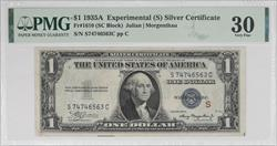 $1 1935A Experimental (S) Silver Certificate  PMG VF30 FR#1610 Julian Morgenthau SN# S74746563C