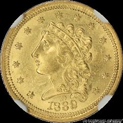 1839-D Classic Head $2.50 Gold Quarter Eagle NGC MS 61 Obverse D Mark Dahlonega Mint